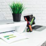 Eine Pflanze steht auf einem Schreibtisch / Gesund wohnen und die Raumluft natürlich verbessern