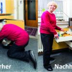 Vorher/Nachher: eine ältere Frau zieht eine Vollauszugs-Schublade aus (Pflegebedürftigkeit).